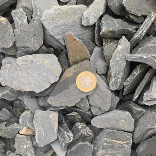 Black/Grey Slate Our Black/Grey slate is 30mm-50mm. Available in ton bulk bags. Available in Plum, Blue, Green and Black/Grey