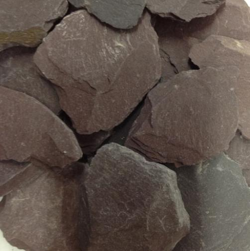 Plum Slate Our plum slate is 30mm-50mm. Available in ton bulk bags. Available in Plum, Blue and Green